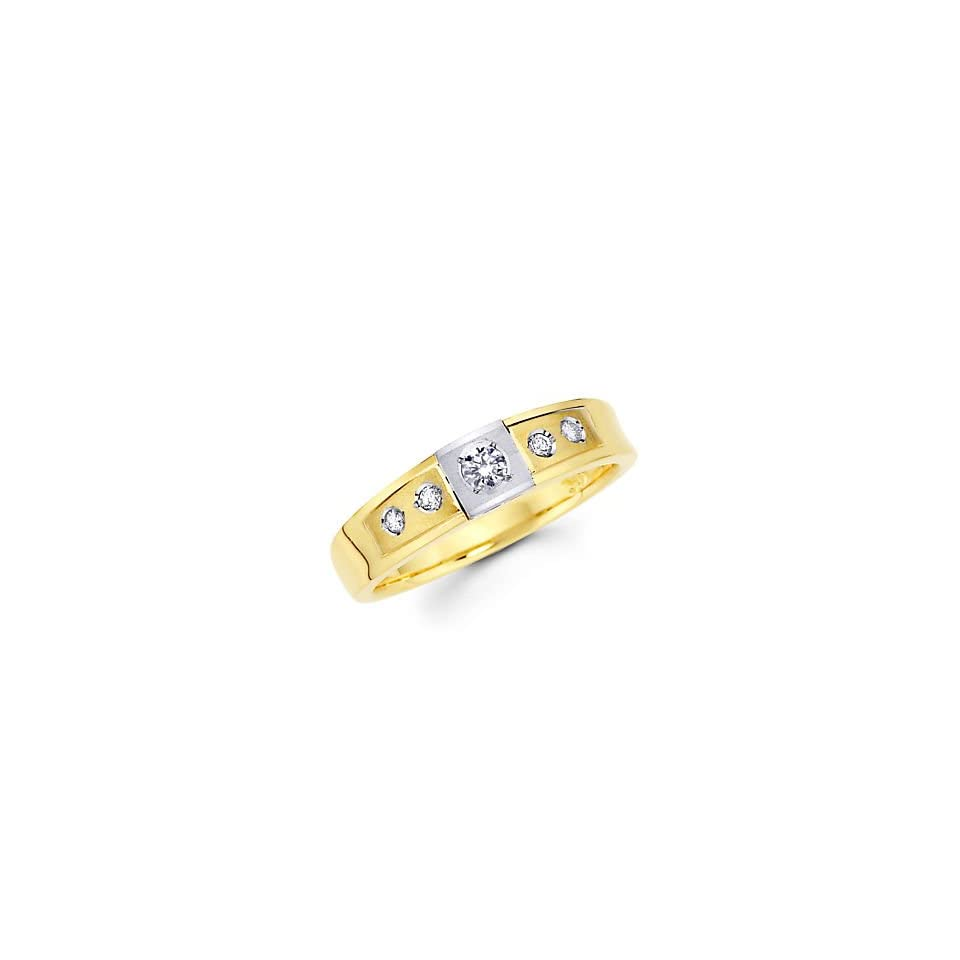 Size  7   .18ct Diamond 14k Two Tone Gold Wedding Matching Ring Band (G H Color, I1 Clarity)