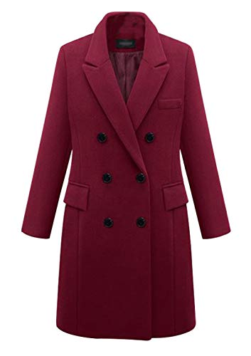 chouyatou Women's Basic Designed Notch Lapel Double Breasted Mid-Long Wool Pea Coat (X-Small, Wine Red)