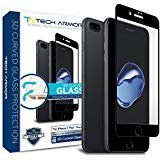 Tech Armor Apple iPhone 7 Plus (5.5-inch) 3D Curved Edge Glass Screen Protector [1-Pack] for Apple iPhone 7 Plus (Black)