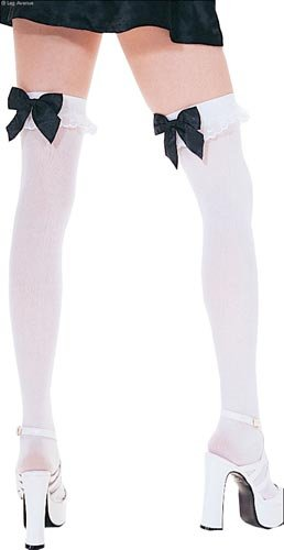cd5530fa0 Leg Avenue Women s Opaque Thigh High Stockings With Chiffon Ruffle And Satin  Bow