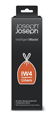 Joseph Joseph 30027 Intelligent Waste IW4 Compaction Bin Liners for Titan 8 gallon / 30 liter, Pack of 20, Black