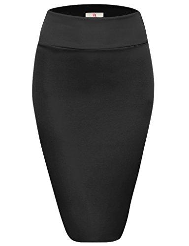 Womens Below Knee High Waist Office Pencil Skirt, S2006, Large, (High Waisted Black Pencil Skirt)