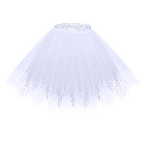 BAOMOSI Women's Short Vintage Petticoat 1950s Vintage Tutu Petticoat Ballet Bubble Skirt Multi-Colored White (Fancy Dress Costumes Australia Cheap)