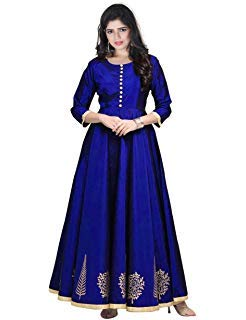 Image Unavailable. Image not available for. Colour  Shree Radhe Enterprise  Women s Tapeta Silk Semi-stitched Long Frocks and Gown ... 8219eb471