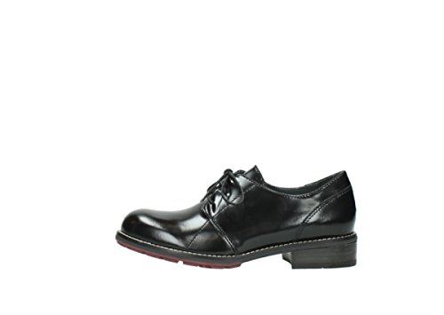 Wolky Lace Up Zapatos 4436Barron 300 black polished leather