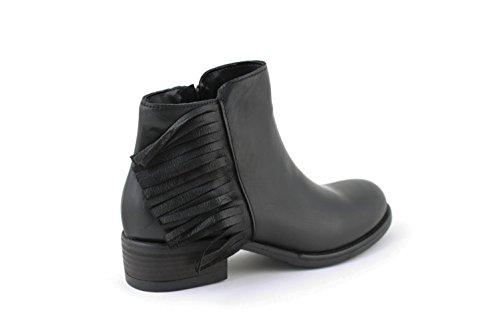 Boots Nero Con Neri Frange Cuoio Scarpe Bassi Stivaletti Italydamin0095 In Made Pelle Biker Invernali Donna CnYU1qA
