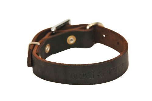 """Dean and Tyler """"B and B"""", Basic Leather Dog Collar with Strong Nickel Hardware – Brown – Size 16-Inch by 3/4-Inch – Fits Neck 14-Inch to 18-Inch"""