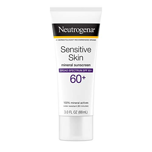 Neutrogena Sensitive Skin Sunscreen Lotion with Broad Spectrum SPF 60+, Water-Resistant, Hypoallergenic & Oil-Free Gentle Sunscreen Formula, 3 fl. oz