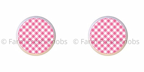 SET OF 2 KNOBS - Pink Round - Gingham by SS - DECORATIVE Glossy CERAMIC Cupboard Cabinet PULLS Dresser Drawer KNOBS