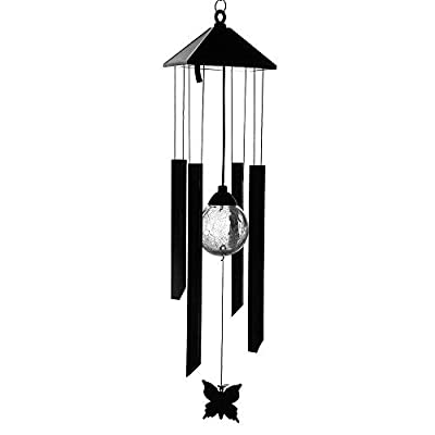 AceList Wind Chime Changing Color Solar Lights Garden Outdoor Decoration Crackle Glass Globe Metal