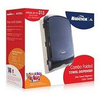 Marathon Combo Folded Towel Dispenser Color Smoke, Holds C-Fold, S-Fold, and M-Fold