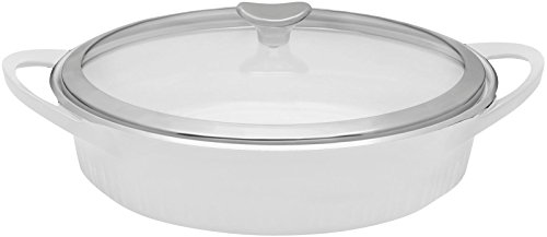 CorningWare Cast Aluminum Dutch Oven Braiser with Dual Handles and Glass Cover, 4-Quart, White