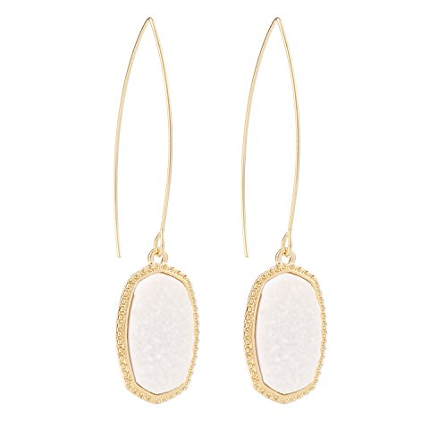 BaubleStar Chic Simulated White Druzy Earrings Long Hoop Dangle Drop Threader Earrings for Women Teen Girl Gold Stone Crystal Sparkly Oval Jewelry BAN0098W - Druzy Hoop