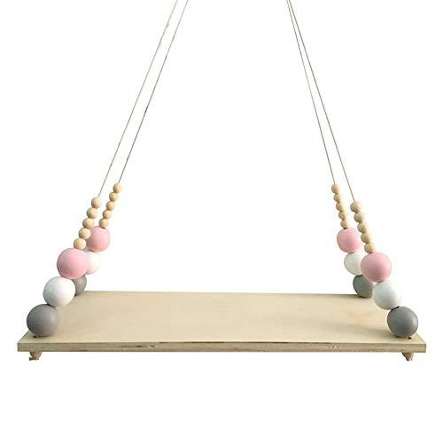 Beadboard Toy Boxes - yanQxIzbiu Nordic Wood Beads Board Tassels Hanging Storage Shelf Kids Room Home Wall Décor (Pink White Grey)