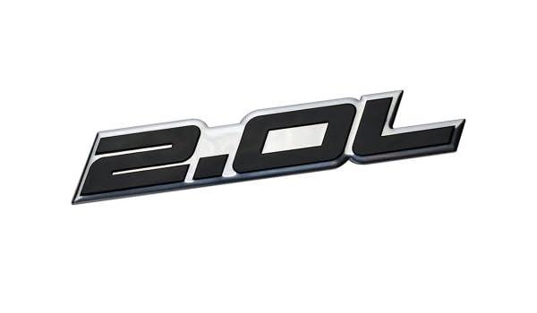 2.0L Liter Embossed BLACK on Highly Polished Silver Real Aluminum Auto Emblem Badge Nameplate for Honda B20 B-20 Civic Si LX EX CRV CR-V Del Sol S2000 F20C ...