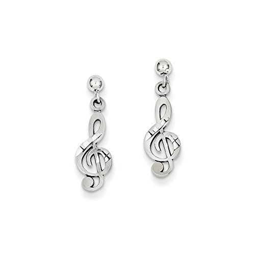 14k White Gold Treble Clef Drop Dangle Chandelier Post Stud Earrings Music Fine Jewelry Gifts For Women For Her ()