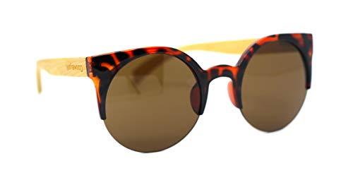 Óculos De Sol De Acetato Com Bambu Lolla Turtle, MafiawooD