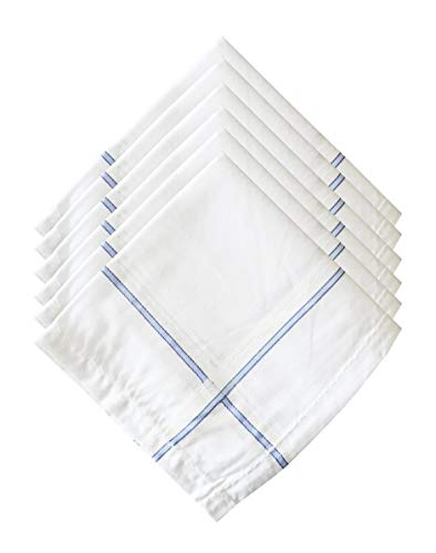 S4S Men's 100% Cotton Supreme Collection Handkerchiefs - Pack of 6 (White Striped_46X46 CM)