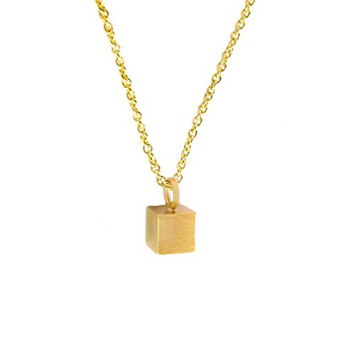 Women Girls' 14K Gold Plated CZ Crystal Pendant Thin Chain Necklace, Fashion Jewelry (Cube Necklace (Gold (Best 80s Inspired Costumes)