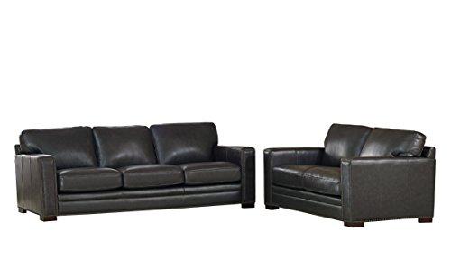 Coja by Sofa4life Benson Leather Sofa and Loveseat Set, Grey