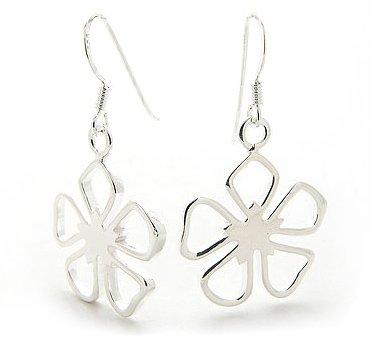 Dangling Open 5-Petal Sterling Silver Flower Hook Earrings