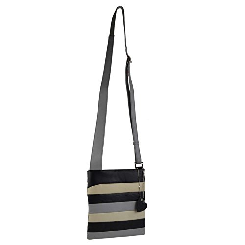 Mala Leather - Bolso cruzados para mujer Negro negro/multicolor mediano Negro/Multicolor