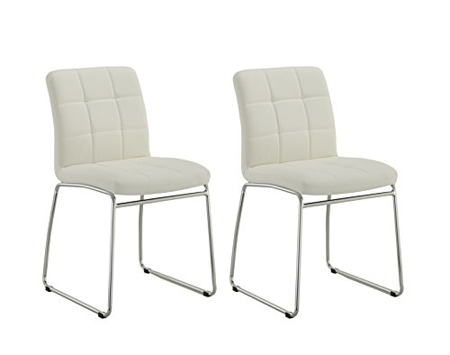 Guest/Reception Dining Chair with Faux Leather Set of 2 Duhome WY-732 Stool (White) by Duhome Elegant Lifestyle
