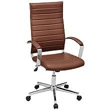 AmazonBasics High-Back Executive Swivel Chair with Ribbed Puresoft PU - Brick Red