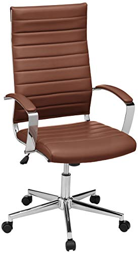 AmazonBasics High-Back Executive Swivel Office Desk Chair with Ribbed Puresoft Upholstery - Brick Red, Lumbar Support, Modern Style, BIFMA Certified (Chair Modern Red)
