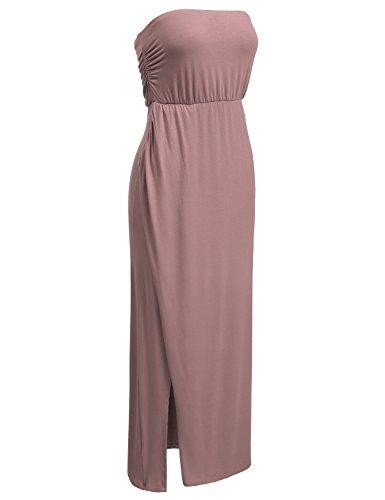 DRESSIS Womens Strapless Side Slit Maxi Tube Dress MAUVE XL