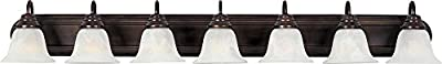 Maxim 8016MROI Essentials in Oil Rubbed Bronze Finish – Damp Rated Vanity Lights – 7 Lightings Lamp Set. Wall Lighting