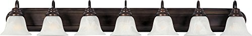 Maxim 8016MROI Essentials 7-Light Bath Vanity, Oil Rubbed Bronze Finish, Marble Glass, MB Incandescent Incandescent Bulb , 60W Max., Dry Safety Rating, Standard Dimmable, Opal Glass Shade Material, Rated Lumens (Light Vanity Seven Light)