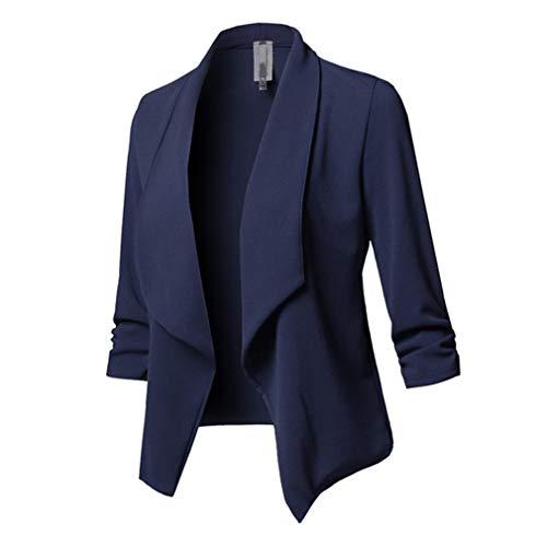 Femme Blazers Court Veste de Tailleur Slim Couleur Unie Basic Cardigan Blouson Jacket OL Veste De Automne Pas de Boutons S M L XL 2XL 3XL 4XL 5XL Bleu Marin