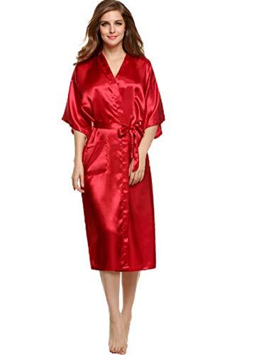 Robe Kimono, Plus Size Rayon Bathrobe Womens Kimono Satin Long Robe Sexy Lingerie Classic Nightgown Sleepwear with Belt - Belt Anita Baby
