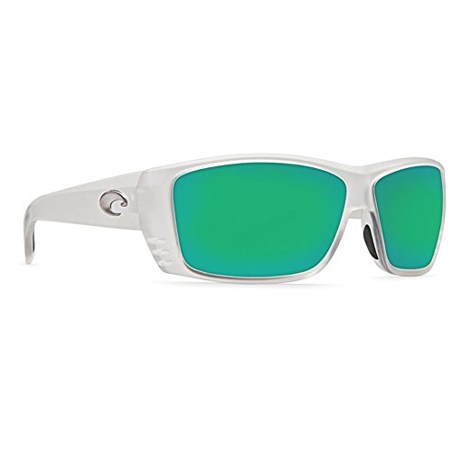 Costa Del Mar Sunglasses - Cat Cay- Glass / Frame: Matte Crystal Lens: Polarized Green Mirror Wave 580 Glass (Del Costa Wave Mar)