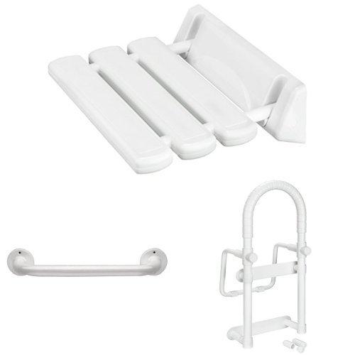 Cornat Duschklappsitz Weiß (360x320x110) + Wannengriff rund 25x300mm Weißs + Wannen-Einstiegshilfe Weiß