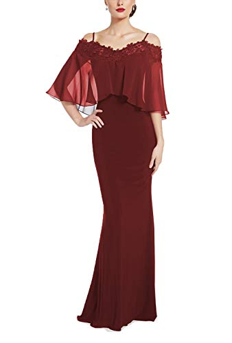Yisha Bello Women's Applique Beaded Mother of Bride Dress Spaghetti Straps Evening Formal Dress 26w Burgundy