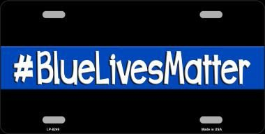Smart Blonde LP-8249 Blue Lives Matter Black Novelty Metal License Plate