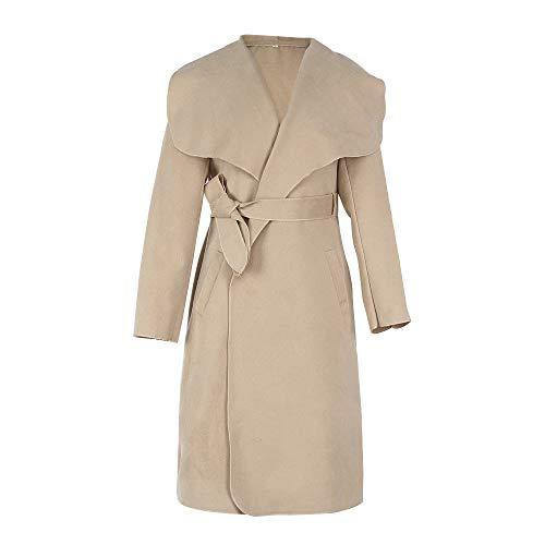 Automne Revers Classique SANFASHION Kaki Mlange Manteau Cape Outwear Femme Ceinture Medium Mode Hiver Poche Large HUPAU1qr