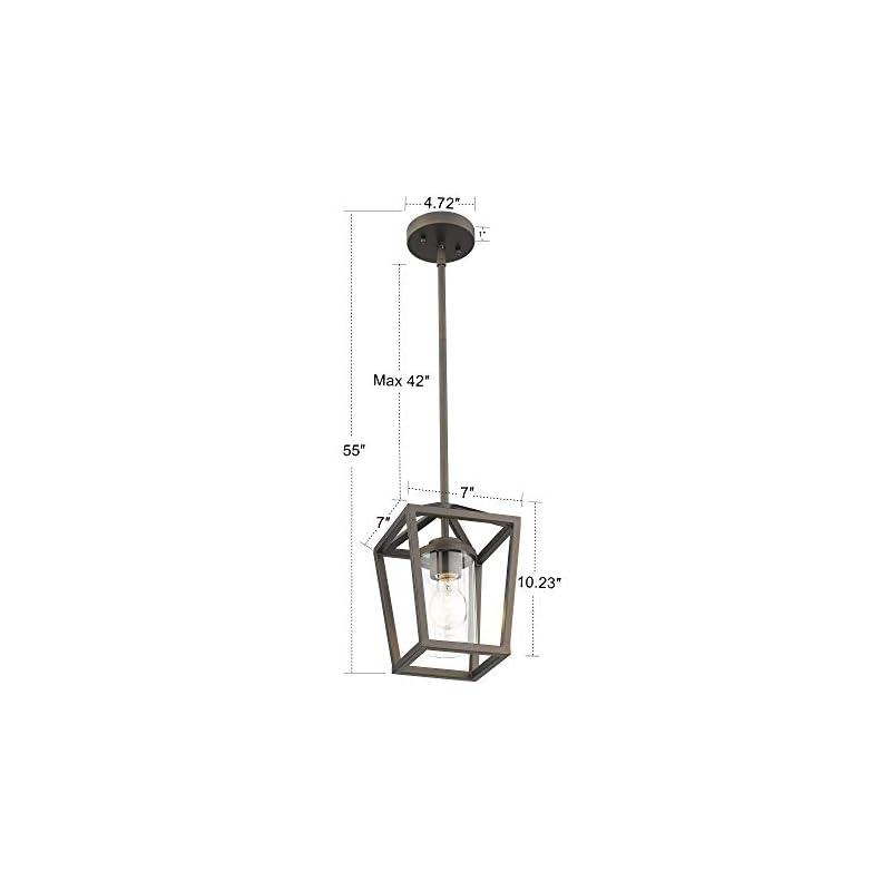 Emliviar Bronze Pendant Light for Kitchen Island, Vintage Mini Cage Pendant Light with Clear Glass Shade, P3033-M1L-R
