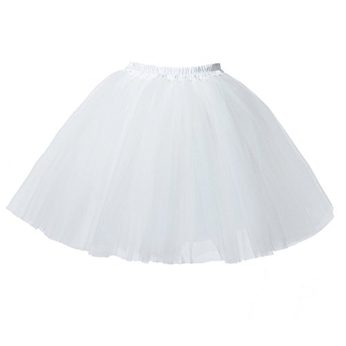 PerfectDay Women's Mini Tutu Ballet Multi-layer Ruffle Frilly Petticoat Skirt White (Plus Size White Tulle Petticoat)