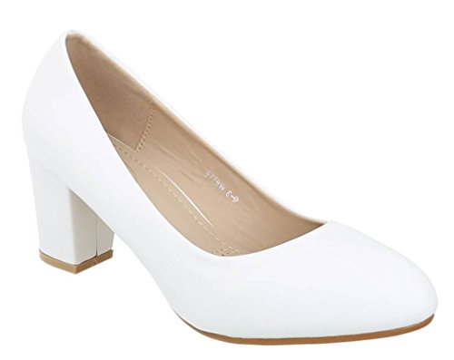 King Of Shoes Klassische Damen Pumps Stilettos Abend Schuhe Party Hochzeit Q3 Weiß