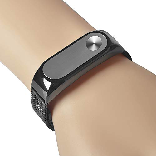 US Fast Shipment Tuscom Magnet Stainless Steel Luxury Wrist Strap Metal Wristband,Screwless Waterproof and Durable Wristband for Xiaomi Mi Band 2 (Black)