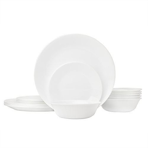 Corelle Livingware 18-Piece Glass Dinnerware Set, Winter Frost White, Service for 6 (Set Salad Long)