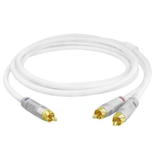 Mediabridge ULTRA Series RCA Y-Adapter (15 Feet) - 1-Male to 2-Male for Digital Audio or Subwoofer - Dual Shielded with RCA to RCA Gold-Plated Connectors - White - (Part# CYA-1M2M-15W )