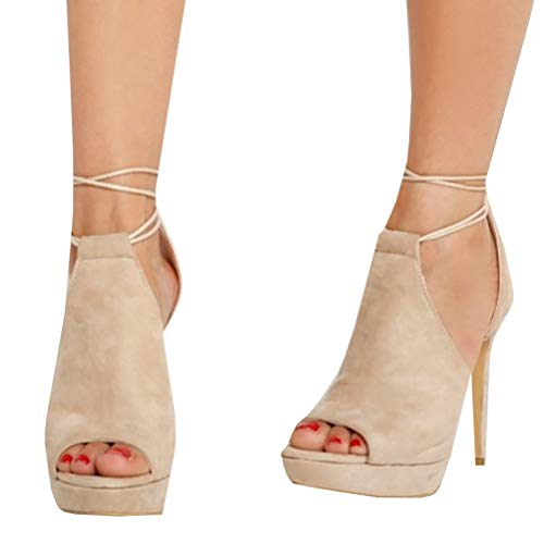 Womens Lace Up High Heels Sandals Peep Toe Stiletto Heeled Cut Out Pumps Ankle - Pump Bootie