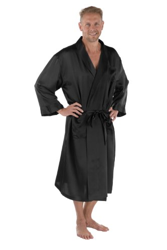 Black Long Sleeved Silk Top (Men's 100% Silk Robe - Luxury Bathrobe for Him by Texeresilk (Turin, Black, Large/X-Large) Top Christmas Gift Ideas for Him MS0103-BLK-LXL)