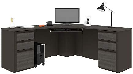 Bestar Prestige 3-Drawer Corner Desk Bark Gray Slate
