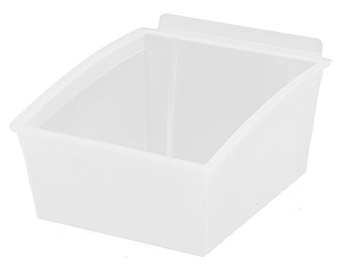 Slatwall Storage/Display bin, Plastic (Polypropylene), 4.87''L x 5.62''W x 3.37''H, Clear (20 Pack) Fits Grid and pegboard with Optional adapters.