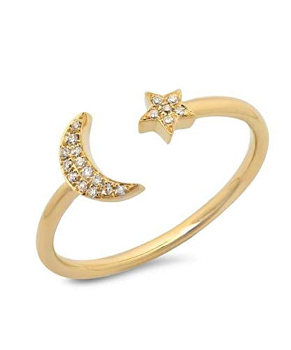 (Baubles N Gems Dainty Crescent Moon & Star Ring with Pave Crystals in Matte Gold or Silver Plated Fasion Simple Casual (7, Gold-Plated-Base))